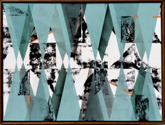 Untitled 034 by Kera - Geometric Abstraction with turquoise, black and blue