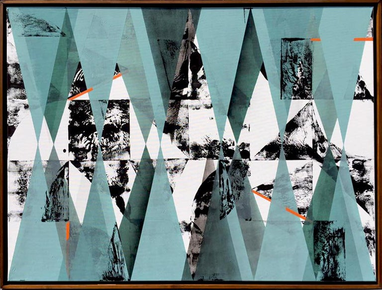 Artist: Kera  Geometric abstraction in white, black and blue  Medium: Acrylics and spraypaint on canvas, framed in thin wood frame.  Size: 130 x 90 cm  Original