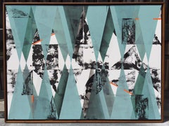 Untitled 034 - Geometric Abstraction with turquoise, black and blue