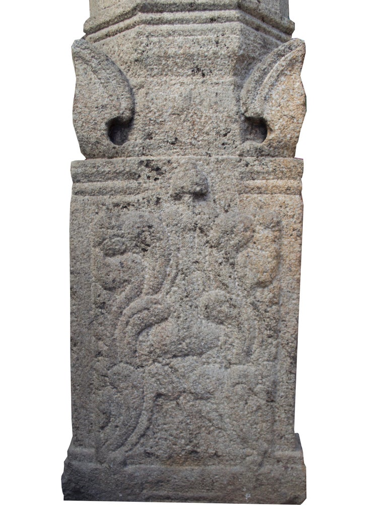 Indian Kerala, Madras, South of India, Engraved Granite Column, Mandala and Naga Design For Sale