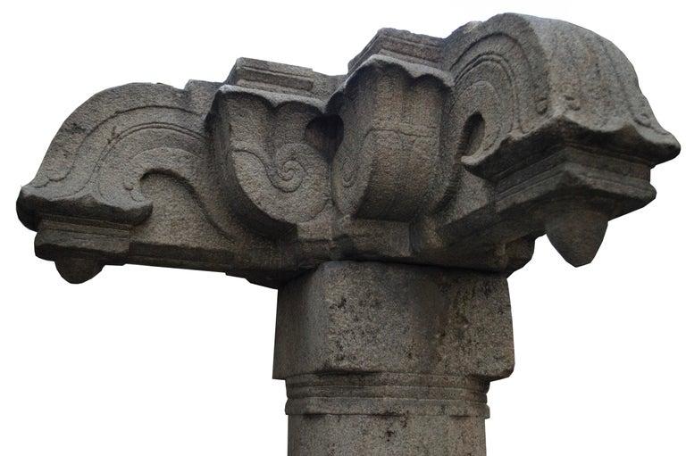 18th Century and Earlier Kerala, Madras, South of India, Engraved Granite Column, Mandala and Naga Design For Sale