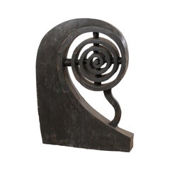 Kerala Spiral Carved-Wood Boat Prow from Southern India