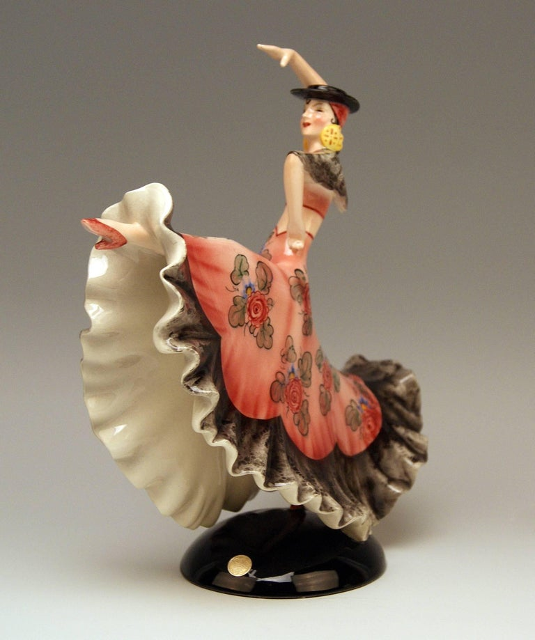 Austrian Keramos Spanish Lady Dancer Art Deco Model 1400 by Stefan Dakon Made circa 1930 For Sale