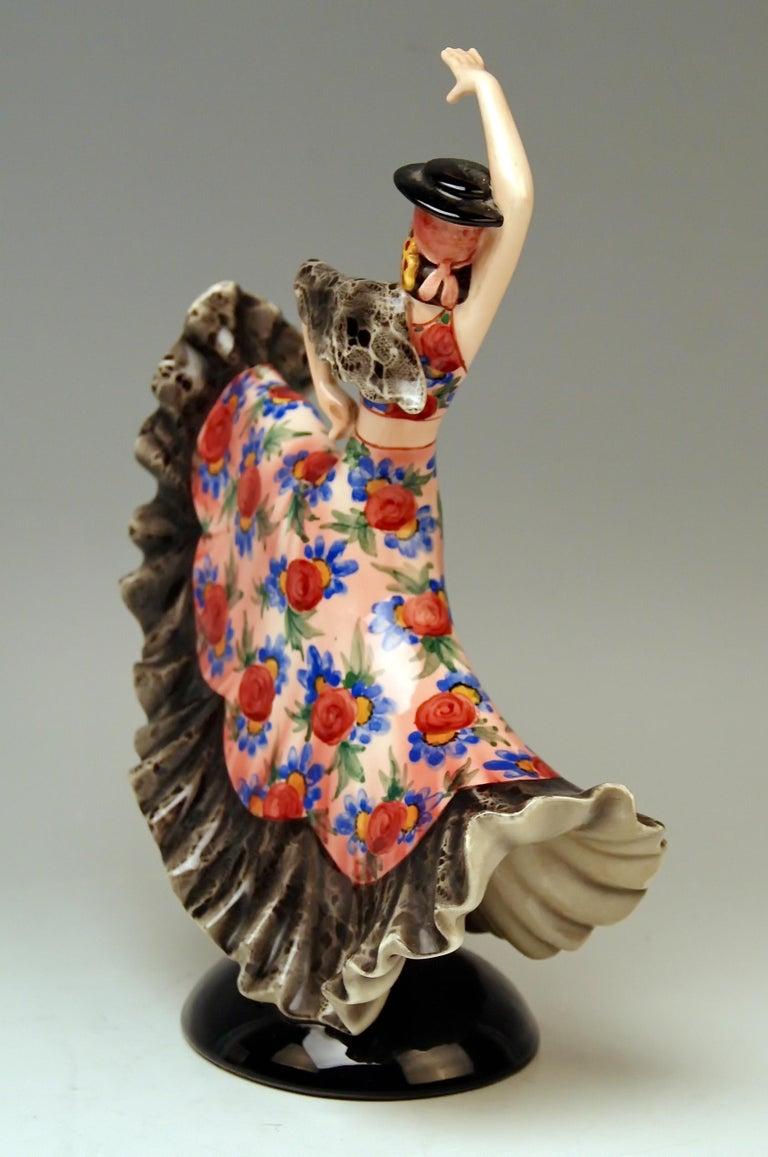 Art Deco Keramos Spanish Lady Dancer Model 1400 by Stefan Dakon Made, circa 1950-1960 For Sale
