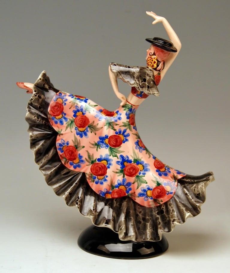 Austrian Keramos Spanish Lady Dancer Model 1400 by Stefan Dakon Made, circa 1950-1960 For Sale