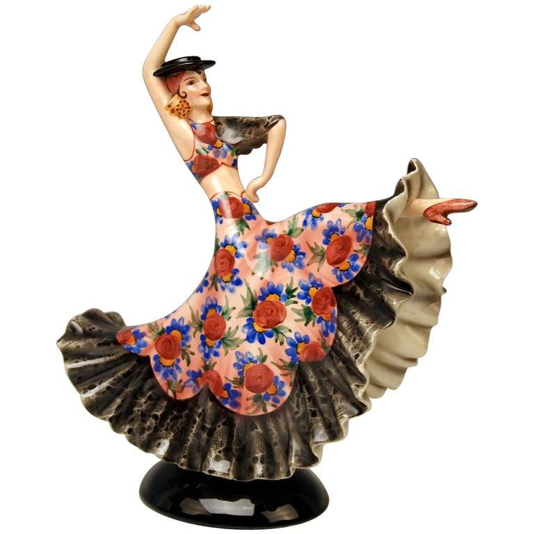 Keramos Spanish Lady Dancer Model 1400 by Stefan Dakon Made, circa 1950-1960 For Sale
