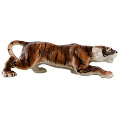 Keramos, Vienna, Very Large Tiger in Porcelain, Beautiful Figurine, circa 1940s