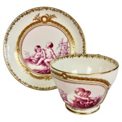 Kerr & Binns Worcester Porcelain Coffee Cup, Puce Putti Playing, circa 1855