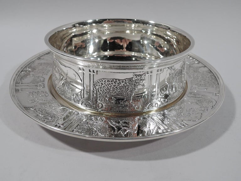 American Kerr Edwardian Sterling Silver Sweet Beast Baby Bowl & Plate For Sale