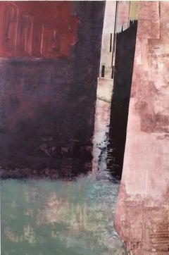 Aqua by Kerri Pratt - Abstract geometric City Scene Painting with Red, Black