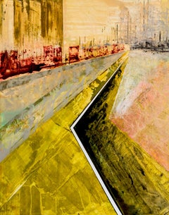 Reconstruct IV - Abstract geometric City Scene, Black, Yellow Contemporary art