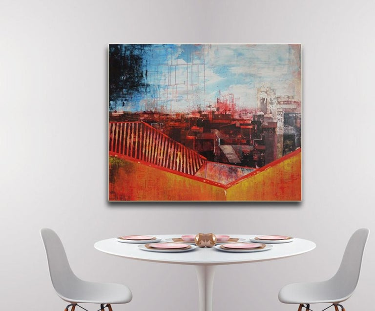 Seeing Red Urban Vista, Abstract Street Scene by Kerri Pratt, Black, Yellow, Red For Sale 1