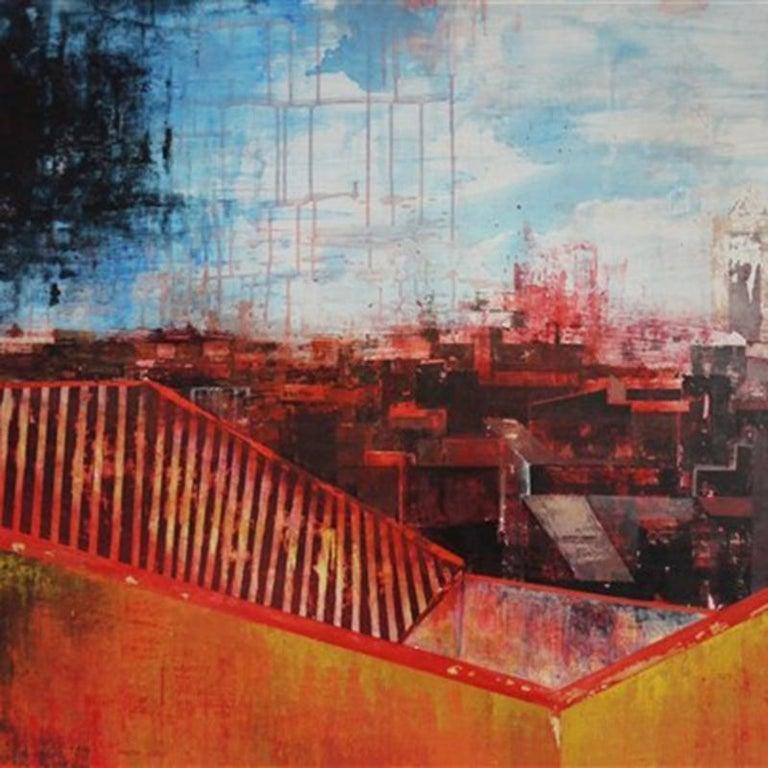 Seeing Red Urban Vista, Abstract Street Scene by Kerri Pratt, Black, Yellow, Red For Sale 2