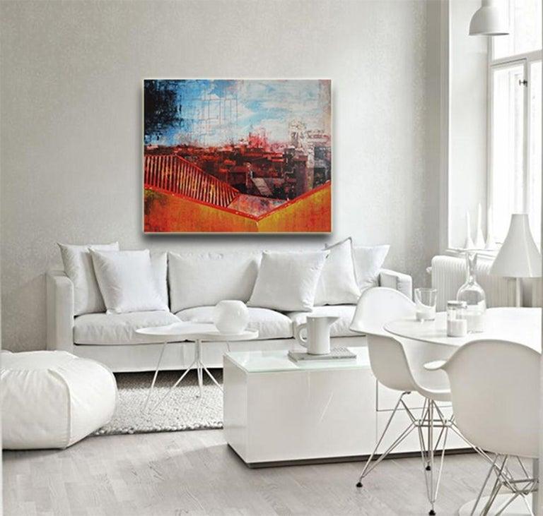 Seeing Red Urban Vista, Abstract Street Scene by Kerri Pratt, Black, Yellow, Red For Sale 3