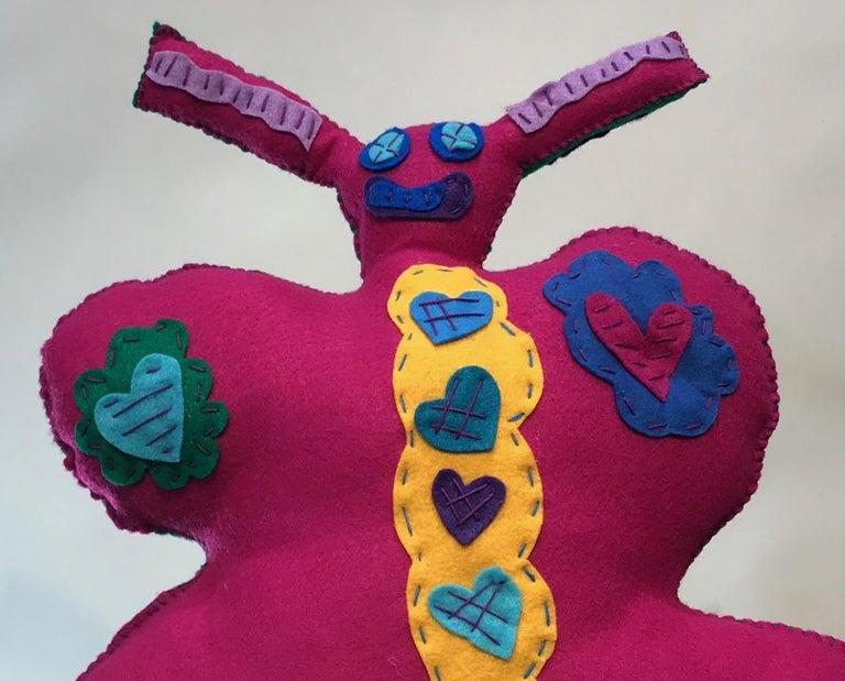 Free Range Butterfly, soft sculpture, felt, pink, green, yellow, blue, purple - Sculpture by Kerry Green