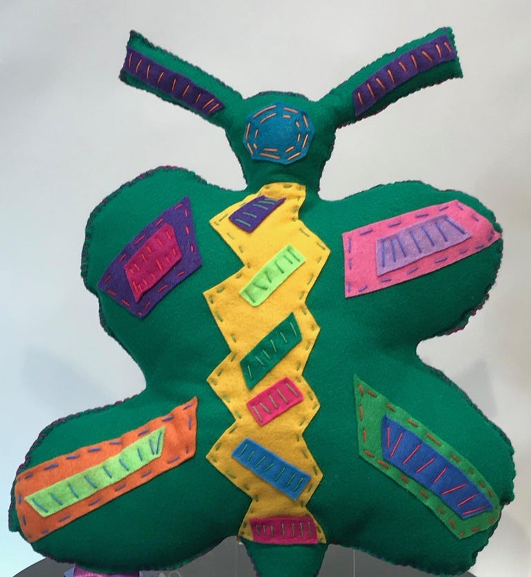 Free Range Butterfly, soft sculpture, felt, pink, green, yellow, blue, purple - Contemporary Sculpture by Kerry Green