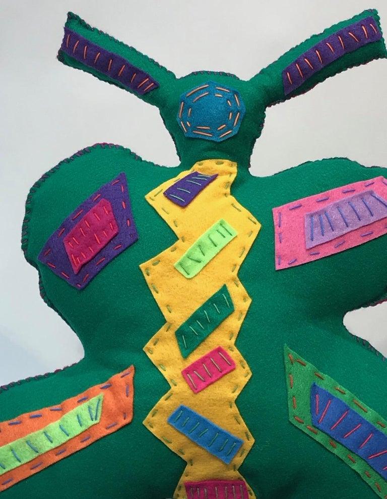 Free Range Butterfly, soft sculpture, felt, pink, green, yellow, blue, purple - Gray Figurative Sculpture by Kerry Green