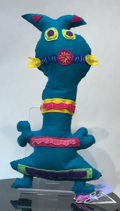 Free Range Critter, felt, soft sculpture, navy blue, teal, pink, yellow, spiral