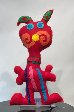 Free Range Critter, Red and Pink felt soft sculpture, spirals, stripes, ears