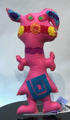 Free Range Critter, soft sculpture, felt, pink, pig, purple, floppy ears, spiral