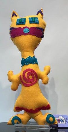 Free Range Critter, Yellow and Pink, soft sculpture, felt, heart, spiral, red