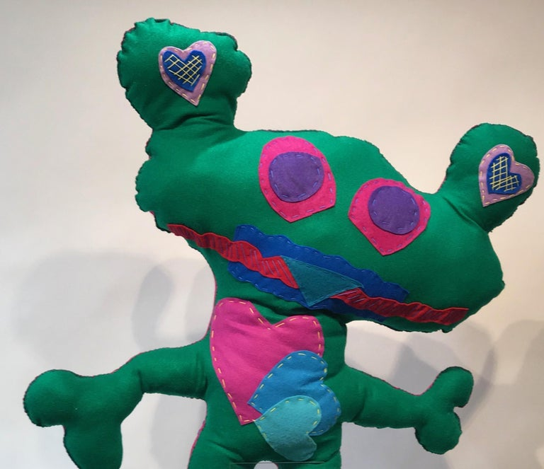 Giant Green Free Range Critter, soft sculpture, felt, green,pink,hearts, squares - Contemporary Sculpture by Kerry Green