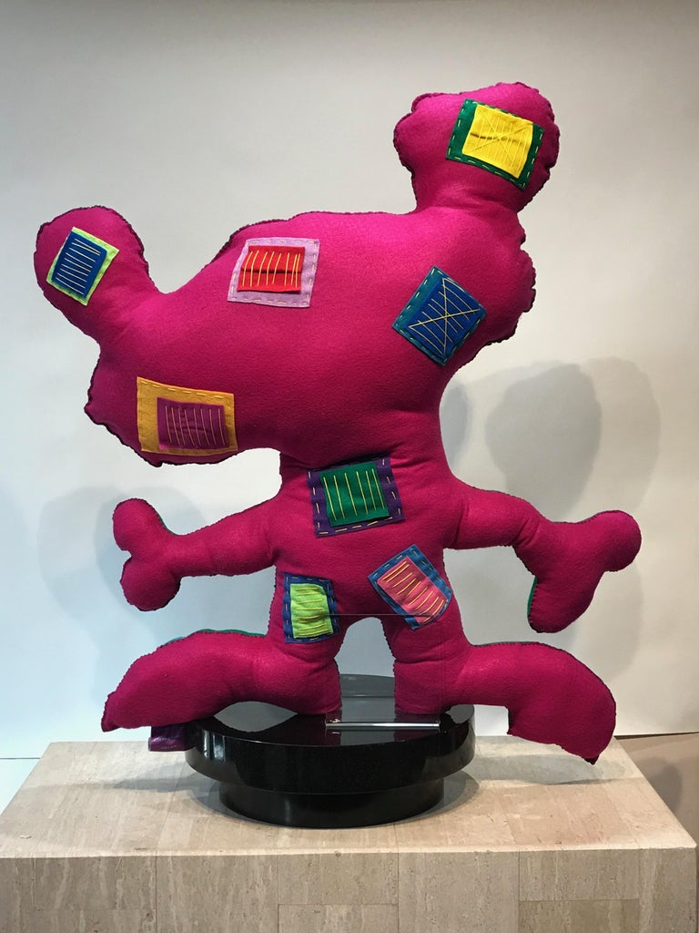 Giant Green Free Range Critter, soft sculpture, felt, green,pink,hearts, squares - Gray Figurative Sculpture by Kerry Green