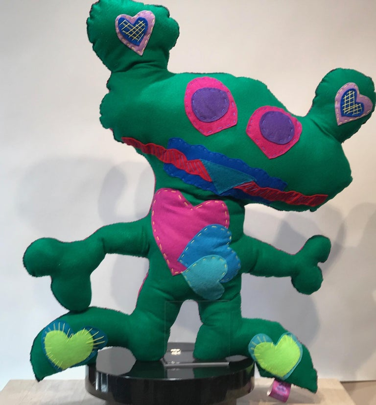 Kerry Green Figurative Sculpture - Giant Green Free Range Critter, soft sculpture, felt, green,pink,hearts, squares