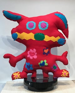 Giant Red and Orange Free Range Critter, soft sculpture, felt, recycled material