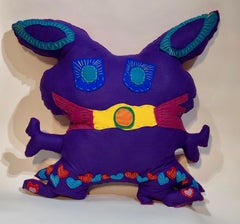Great Big Free Range Critter Purple, Pink with Boots, Kerry Green soft sculpture