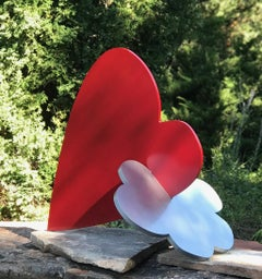 Heart + Cloud, sculpture by Kerry Green,contemporary,indoor, outdoor, red,silver