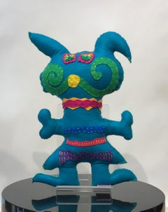Teal and Lime Free Range Critter, soft sculpture, felt, recycled materials