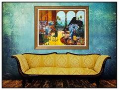 Kerry Hallam Large Original Acrylic Painting on Canvas Interior Signed Artwork