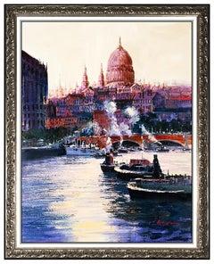 Kerry Hallam Original Acrylic Painting on Canvas England Landscape Signed Large