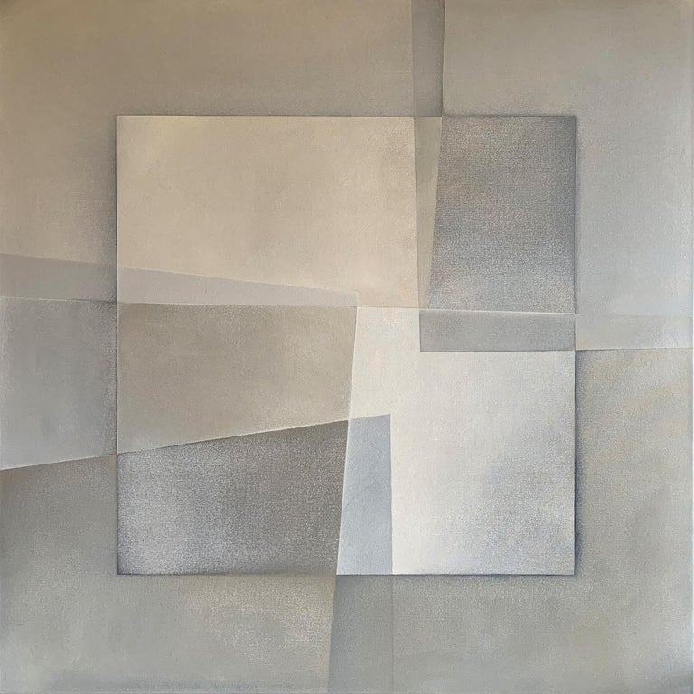 """""""Reactions XXV"""" geometric abstract painting featuring tan hues. Kerry Hays is inspired by the work of Josef Albers, Helen Frankenthaler, Agnes Martin and Barbara Hepworth.  A native of Washington, D.C., Kerry Hays is an emerging artist who attended"""