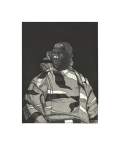 """Kerry James Marshall-Untitled (Handsome Young Man)-24.5"""" x 19""""-Etching-2010"""