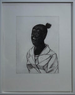 """Kerry James Marshall-Untitled (Woman)-26.25"""" x 21""""-Etching-2017-Contemporary"""