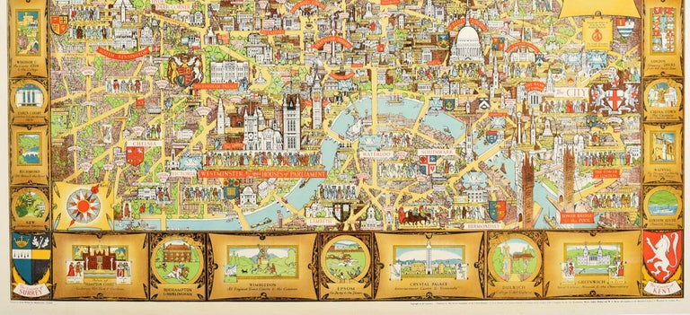 Original Vintage Poster London Bastion Of Liberty Illustrated Map WWII Churchill - Beige Print by Kerry Lee