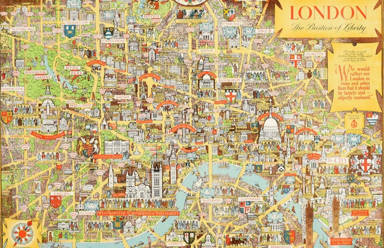 Original vintage travel map poster for London The Bastion of Liberty by the British artist, illustrator and poster designer Kerry Lee (1902-1988) to encourage tourism after World War Two featuring a detailed pictorial map of London with its notable