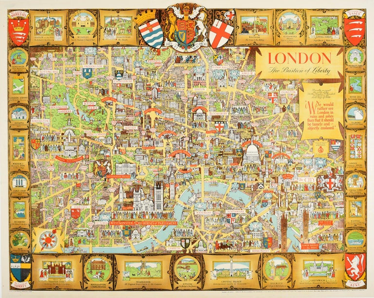 Kerry Lee Print - Original Vintage Poster London Bastion Of Liberty Illustrated Map WWII Churchill