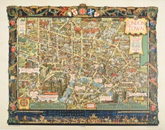 Original Vintage Poster London Town Pictorial Map Southern Railway Underground