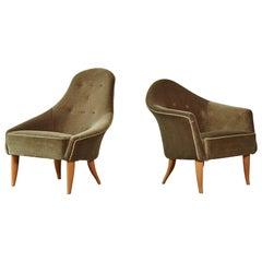 Kerstin Hörlin-Holmquist Adam and Eva Chairs, Original Velvet, Sweden, 1964