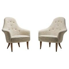 "Kerstin Hörlin-Holmquist ""Little Eva"" Pair of Easy Chairs, Sweden, 1950s"