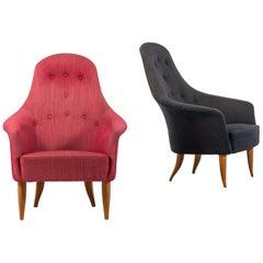 Kerstin Hörlin-Holmquist Stora Adam Easy Chairs by Nordiska Kompaniet in Sweden