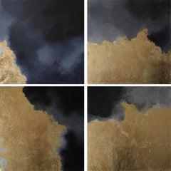 Hic Sunt Dracones 1-4, pastel & gold leaf, abstract landscape, coastline