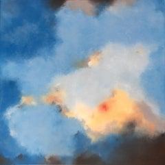 Céleste, blue abstract pigment painting