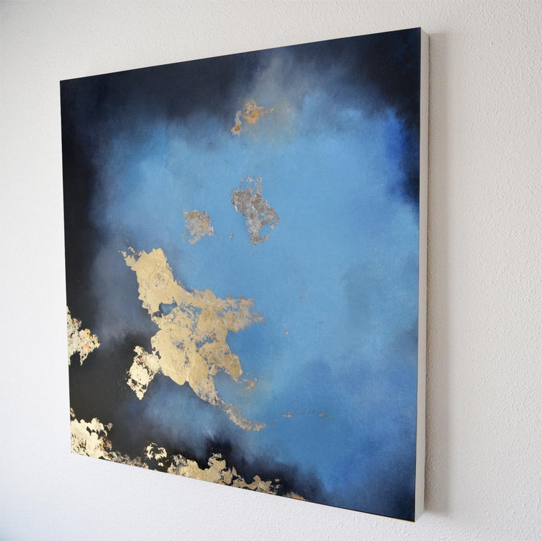 Kingman Blue pastel and gold leaf mixed media painting - July Weekend Price - Painting by Kerstin Paillard