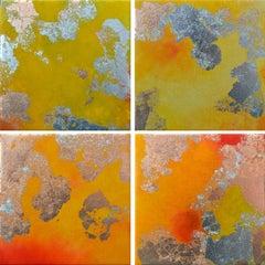 Soliculu l-lV, pigments & gold leaf, abstract landscape, coastline
