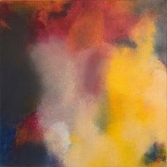 Walpurgis Night, red, orange abstract pigment painting