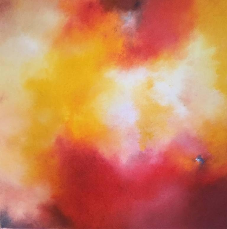 Kerstin Paillard Abstract Painting - Walpurgis, red, orange abstract pigment painting - July Weekend Price
